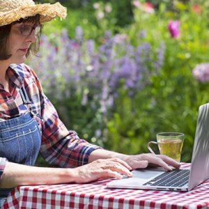 Woman On Laptop In Garden